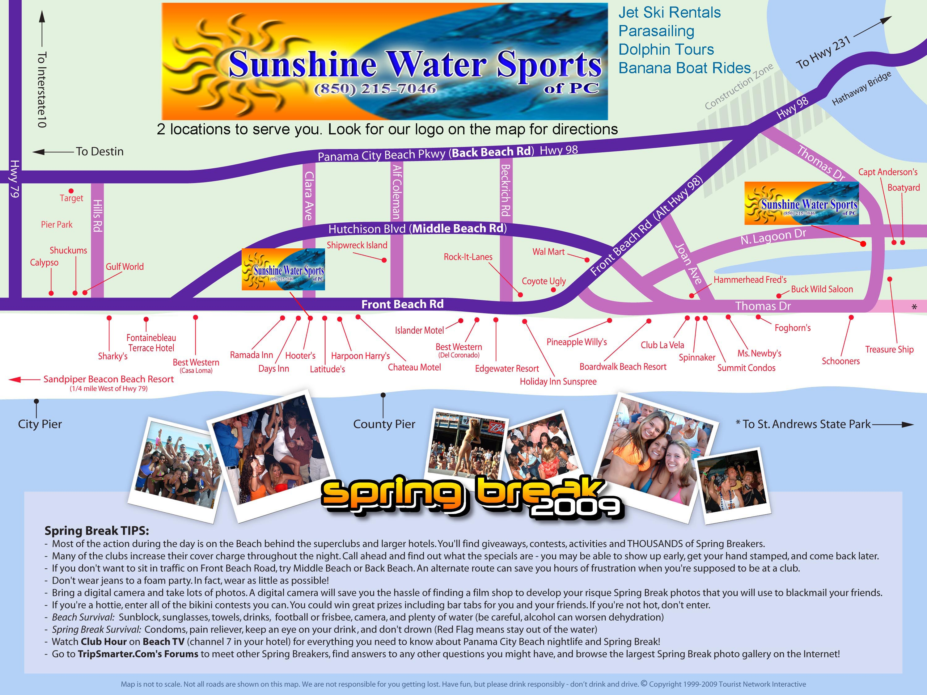 Spring Break Parties Panama City Beach Spring Break 2009 Party Map – Panama City Tourist Map